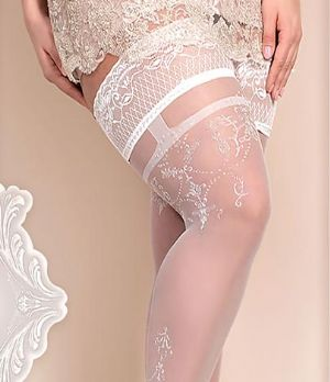 Ballerina 361 Plus Size Lace Top Holdups in White